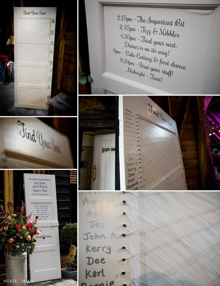Wedding ideas - thought this was a great way to make use of an old pantry door! #wedding #weddingideas #weddingphotography