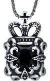 #Gioielli #8: Acciaio inossidabile Collana con pendente da uomo o donna, Unise, croce e la corona ciondolo con catena a maglia tonda (cristallo nero) - g2005c3