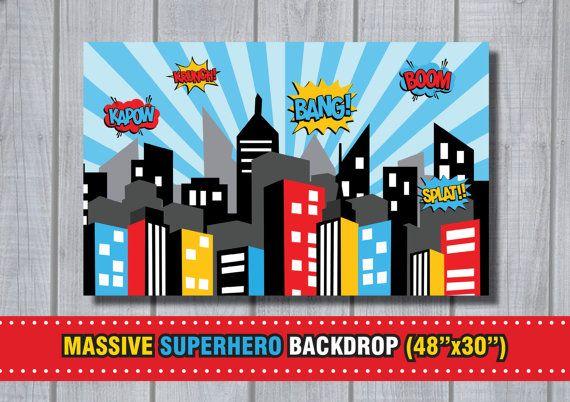 MASSIVE SUPERHERO Backdrop  City Skyline by RedAppleStudio on Etsy