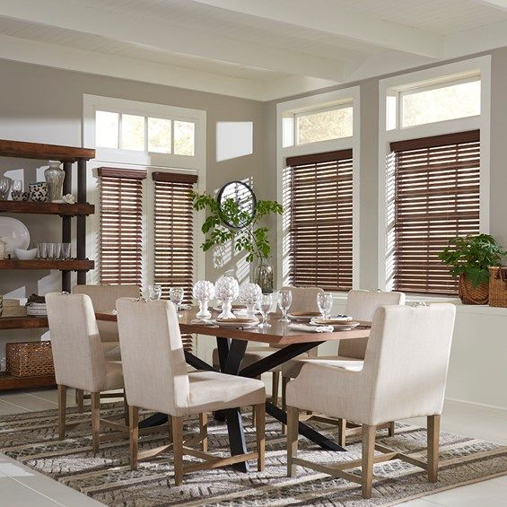 2in Faux Wood Blind in the color Realgrain Dark Chestnut with the cordless lift option.