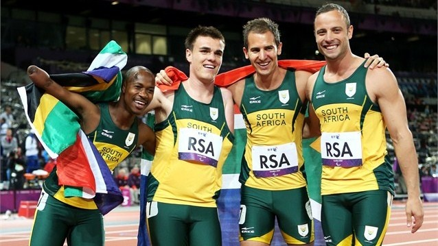 South Africa gold and a new world record in the men's 4x100m relay T42/T46 Final