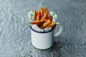 How to make sweet potato fries. I like how these are served.