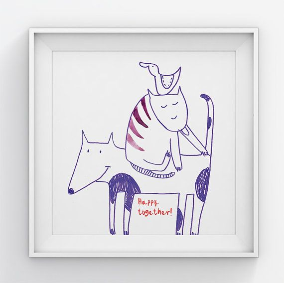 Nursery wall art/Nursery cat dogbird/Nursery by illustation