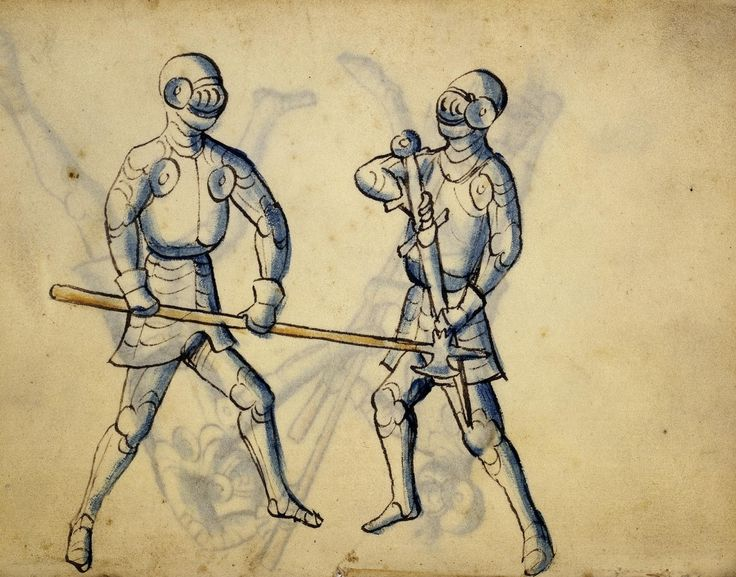 Cod. 11093, 39v: Book on Swordsmanship and Wrestling, mid-15th c. Austrian National Library, Public Domain