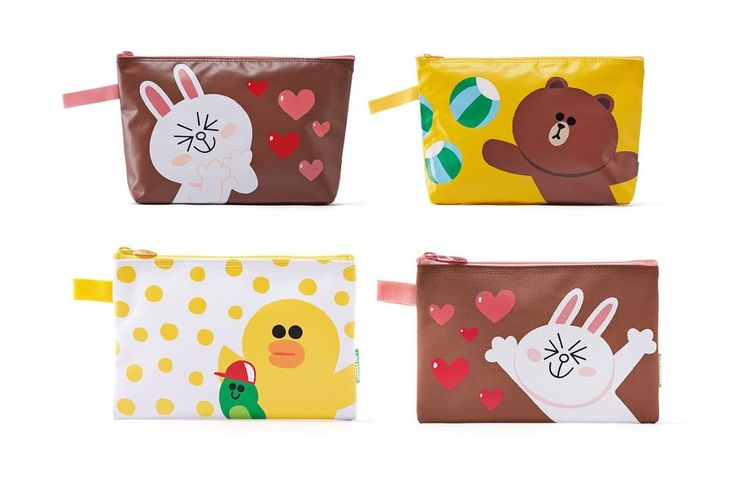 #LINE FRIENDS #BROWN #CONY Character Multi-Purpose Zippered #Pouch #Bag Case (4Types) #LINEPLUS #ZipperedPouchBag
