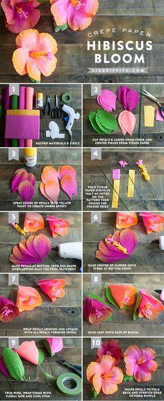 DIY Anleitung für Hibiskus aus Krepppapier