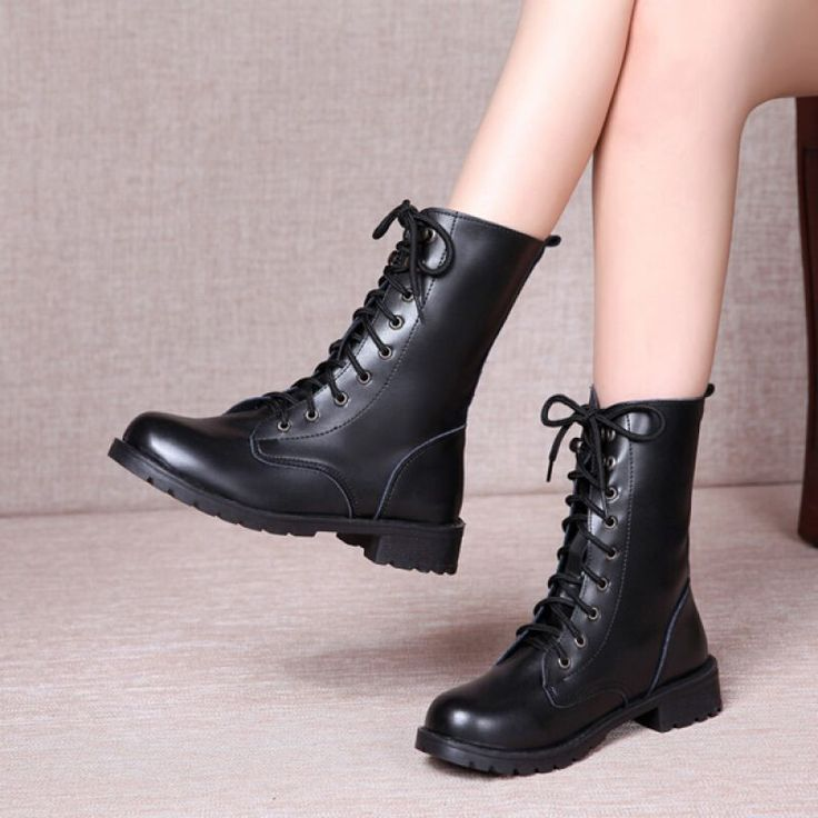 Men And Women Lover Boots Soft Round Toe Martin Boots Elegant Black Boots - Gchoic.com #shoes #fashion #boots #popular #discount #cheap #under20 #warm #winter