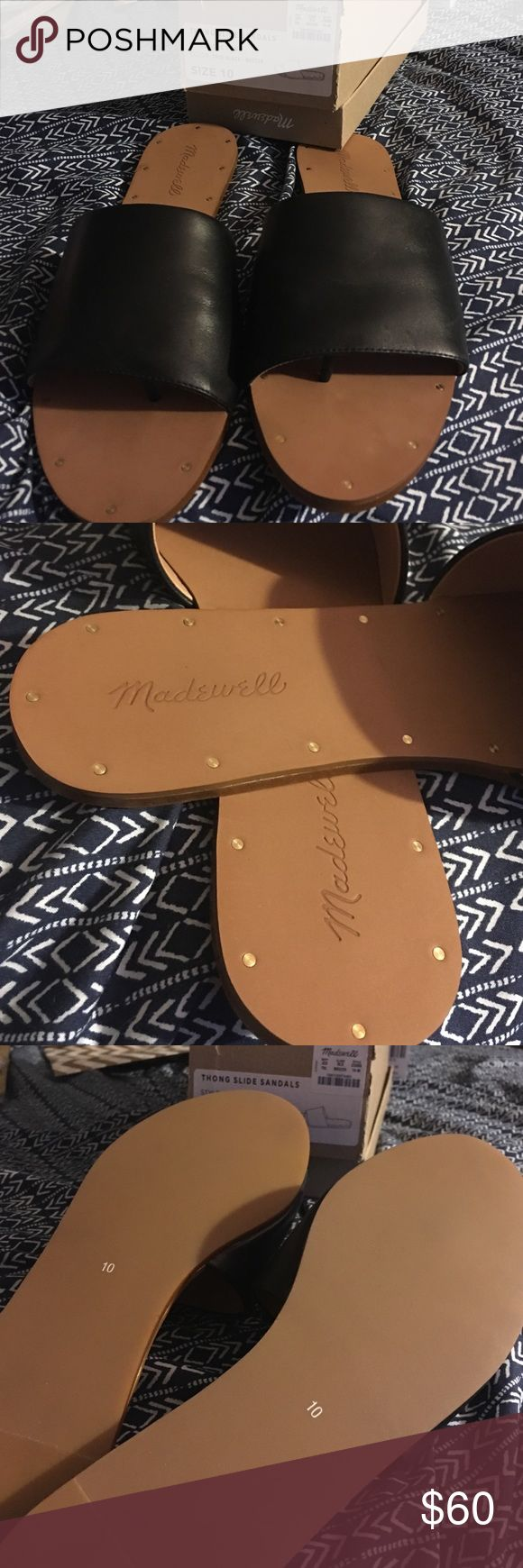 Madewell Anais thong sandals Never worn- still in box! Super cute and can be worn with almost anything. Btw, there is a little divider inside the shoe separating your big toe from the rest, like a flip flop) Feel free to make an offer. 🙃 look a little strange on me due to my wide feet. (My feet are also swollen from being 6 months pregnant lol) Madewell Shoes Sandals