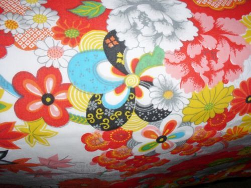 Vintage-Wamsutta-Floral-Kimono-Asian-Queen-Flat-amp-Fitted-Sheets-amp-2-King-cases