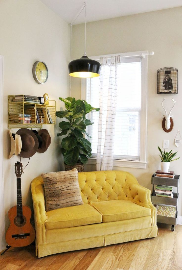 A beautiful mess fiddle leaf fig and organized personal items cozy living spacescute living roomloveseat