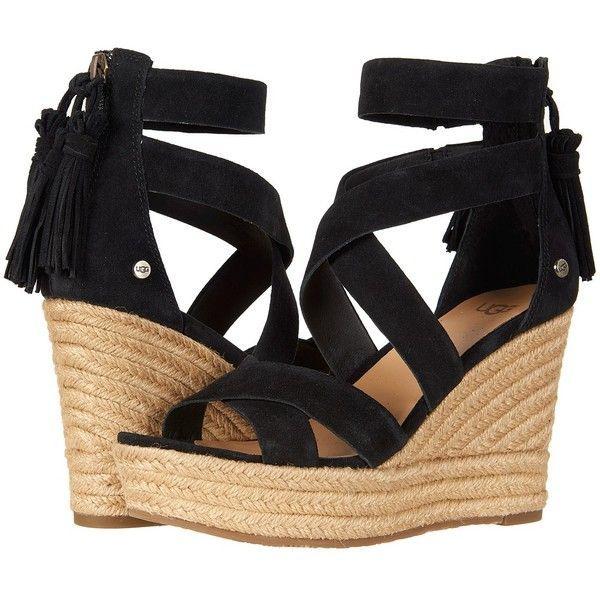 a457486be14 UGG Raquel (Black) Women's Wedge Shoes (€130) ❤ liked on Polyvore ...