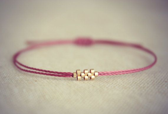 Friendship Bracelet with Small Gold Beads on Toho Thread - Choose your Colour. $17.90, via Etsy.