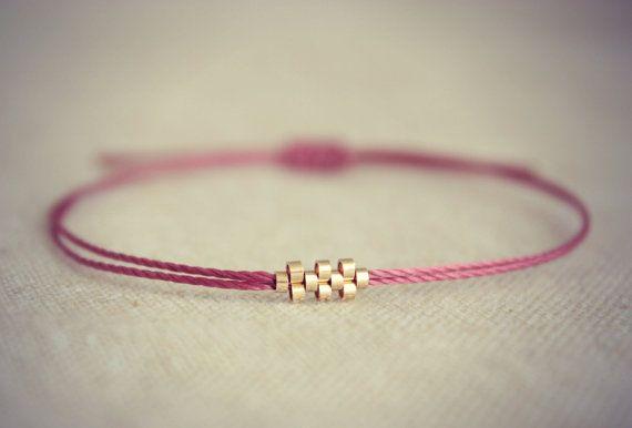 Shiloh / Burgundy Friendship Thread Bracelet with Thin by Riemke