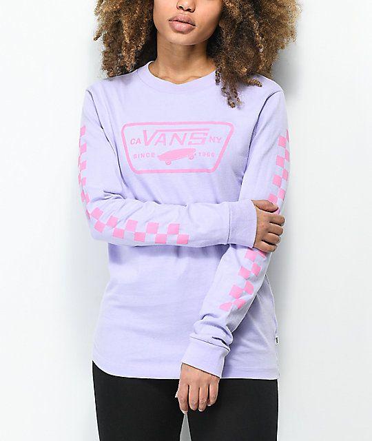 5fbabf6258 Vans Full Patch Checkerboard Lavender Long Sleeve T-Shirt ...