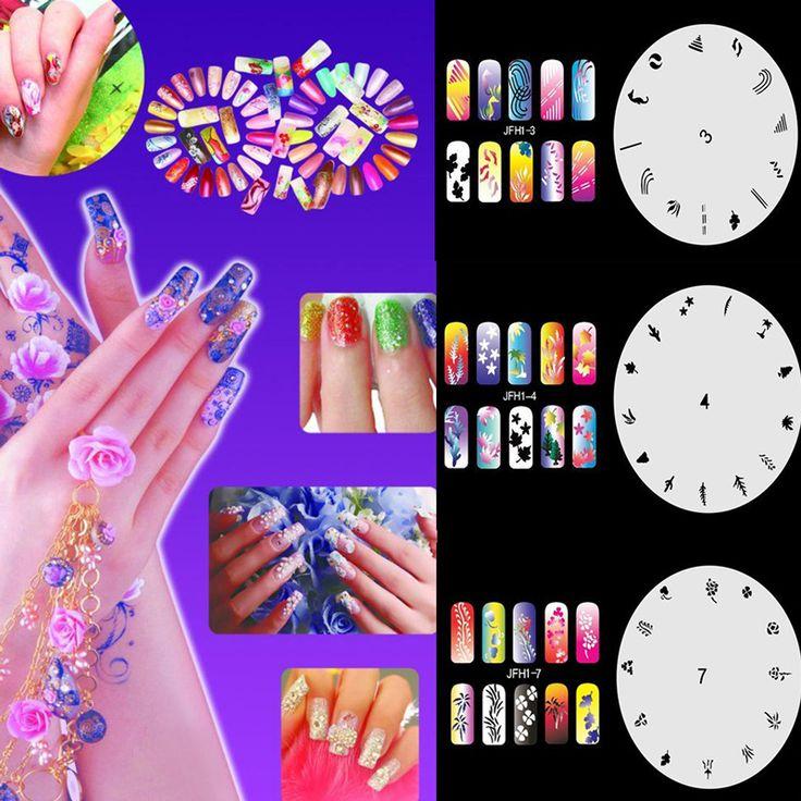 10pcs/set New Fashion Airbrush Nail Art Stencil Sheet DIY Manicure Tools Nail Stamping Plates Pattern nail stamper Set Page 1-10