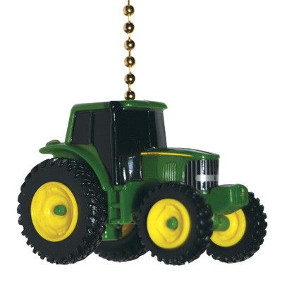 This fan pull features a John Deere tractor model by Ertl. This plastic model is 2 inches high and suitable for ceiling fan pull chain or ceiling light pull chain.