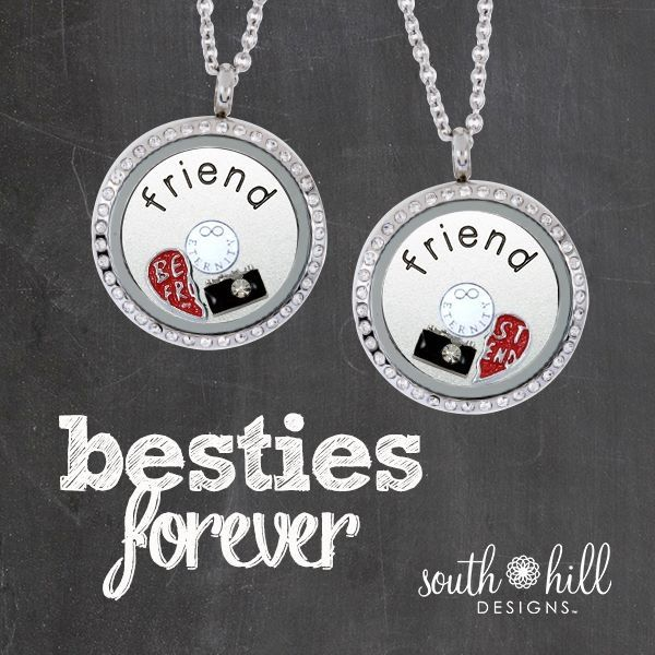 Best Friends Charm!  One Heart, Two Charms!  South Hill Designs These adorable Best Friend lockets are so cute. The ones pictured are 97.00 for both. If you and your bestie split the cost its only 48.50!!!
