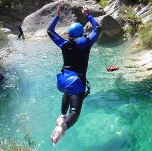 A leap into a beautiful turquoise pool in Barbaira canyon.  Photo: © LesGeckos