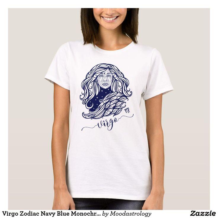 Virgo Zodiac Navy Blue Monochrome Graphic T-Shirt