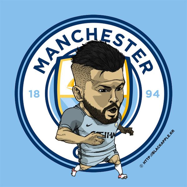 Manchester City No.10 Kun Aguero Fan Art