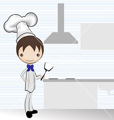 Chef in the kitchen vector preparation background - Instrumentos de cocina ...