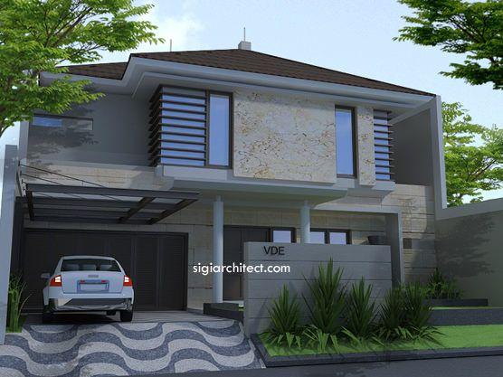 Desain Fasad Rumah Tropis Minimalis, rumah 2 lantai yang menempati lahan yang cukup luas dengan lebar tampak depan 11,5 M
