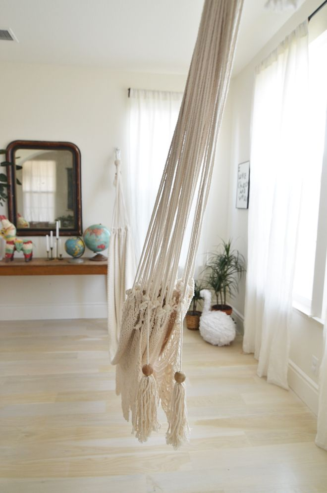 Beautiful indoor hammock for downstairs (by window, hang from ceiling beam)