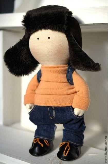 Коллекционные куклы ручной работы. Заказать Интерьерная кукла. Анна Жабская. Ярмарка Мастеров. Синий цвет, мальчик, тепло