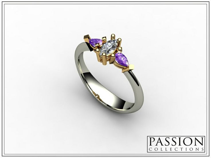 PC345AMD 14k Two Tone #Gold (White -Yellow) 1 #wedding #bride #Diamond Marquise (0.19CT) 2 #Amethysts (0.13CT) Total Weight of Stones (0.32CT/TW) #NaturalStones #Ring #Jewelry #mode #fashion #customjewelry