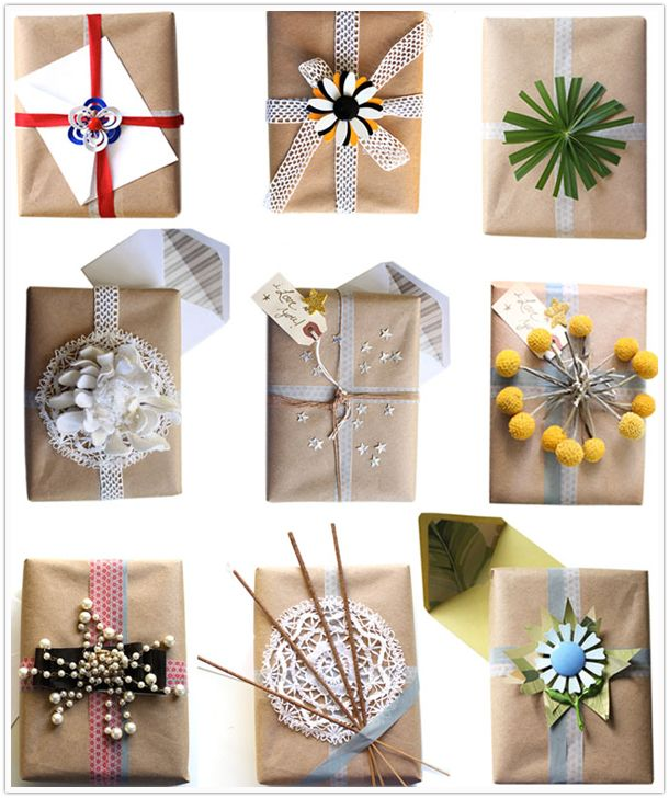 Yes! Now I am glad I have wedding gifts and baby shower gifts to wrap!Kraft Paper, Holiday Gift, Gift Wrapping, Gift Wraps, Wraps Gift, Wrapping Ideas, Christmas Gift, Brown Paper Packaging, Wraps Ideas