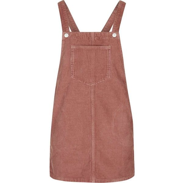 TopShop Petite Cord Pinafore Dress ($57) ❤ liked on Polyvore featuring dresses, overalls, skirts, bottoms, dark pink, textured dress, brown dress, dark pink dress, topshop and petite dresses