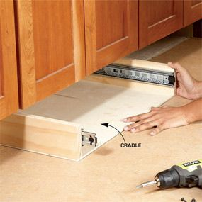 Gain extra storage space in the kitchen by installing toe-kick drawers under your base cabinets. Just assemble the drawer units in your shop, then slip them und | See more about Drawers, Cabinets and Cookie Sheets.