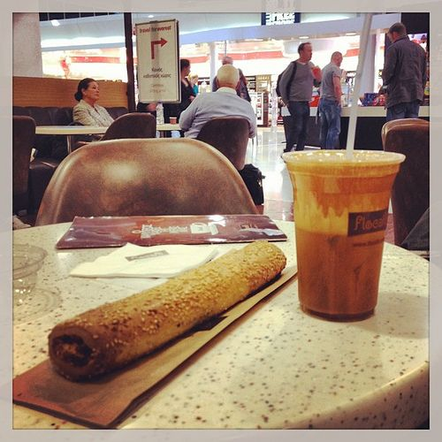 Priceless. Greek coffee 'frappe' and feta pastry at Athens airport #athens #greece #greekcoffee #frappe #athensairport #coffee