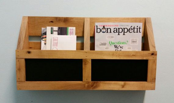 Handcrafted Wood Wall Pocket Shelf Organizer.  Made to order two pocket organizer with inset chalkboard panels. Works great in the office to keep