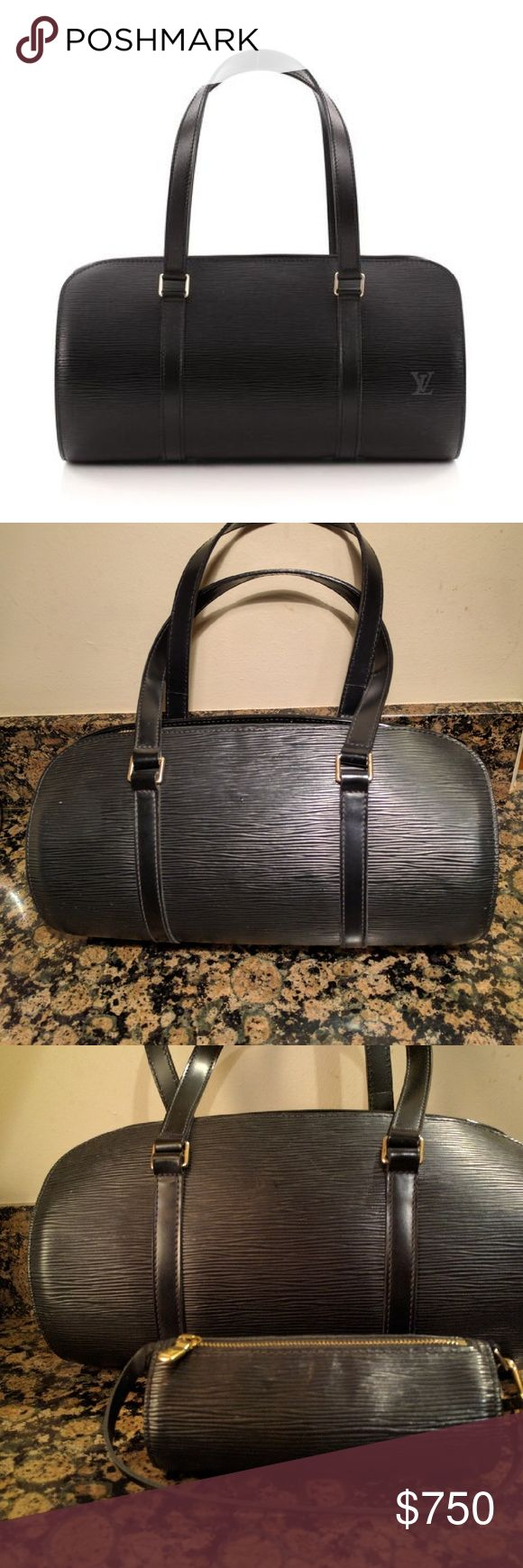 Louis Vuitton Soufflot Handbag Epi Leather w/ mini Strikingly sexy evening bag with razor sharp textured leather.  Will definitely delineate your chiaroscuro. Louis Vuitton Bags Mini Bags