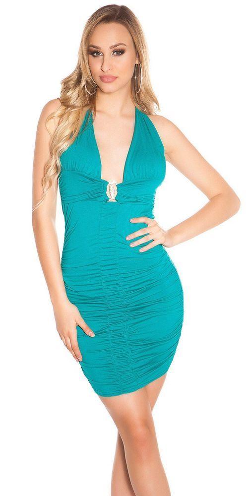 fd4ba7bef9c3 Vestito da Donna corto Mini Abito Sexy aderente con gioiello al petto Verde