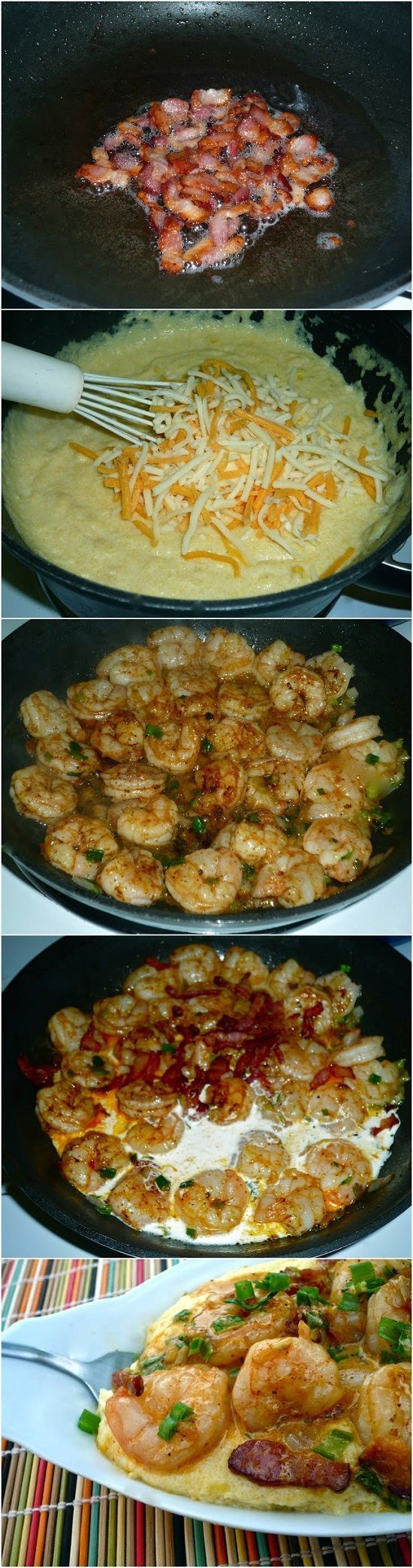 Cheesy Shrimp and Grits... I'm not a huge grits fan but this has bacon, shrimp and cheese, it must taste good!