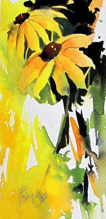 A watercolor of a flower,  by Rae Andrews