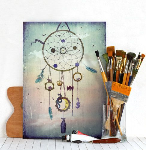 dreamcatcher feathers bat snake elephants whale moon seahorse surreal vintage sybille sterk magpiemagic dreams birds flying crown flowers chains rings lunar eclipse Illustration