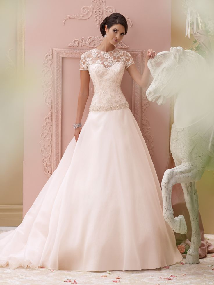 Style 115252, Arabella, is a traditional short sleeve wedding dress designed by David Tutera for Mon Cheri. Click for more information on this style