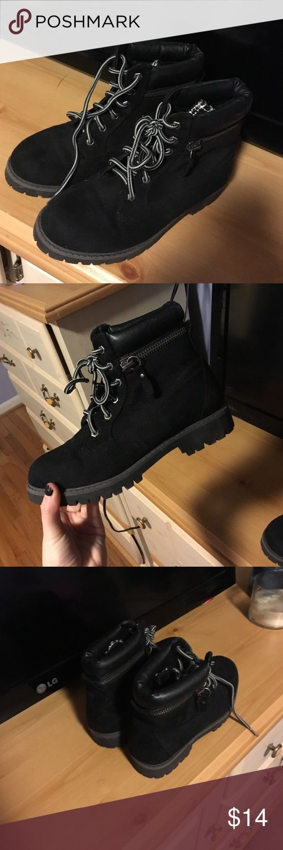 Black Knock Off Timberland Boots Black Timberland knock off lace up boots from Tilly's Tilly's Shoes Lace Up Boots