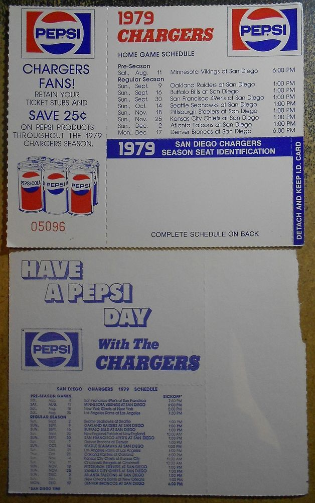 1979 San Diego Chargers Schedule - NFL Football Pepsi