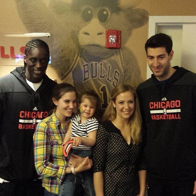 Tony Snell & Toko Shengelia hang out in the new Chicago Bulls Charities Game Room at the Ronald McDonald House.