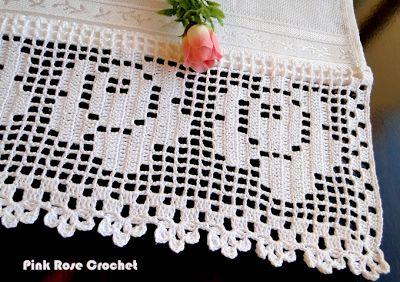 \ PINK ROSE CROCHET /: Barrado para Toalha de Mão Trio de Rosas em Crochê Filê