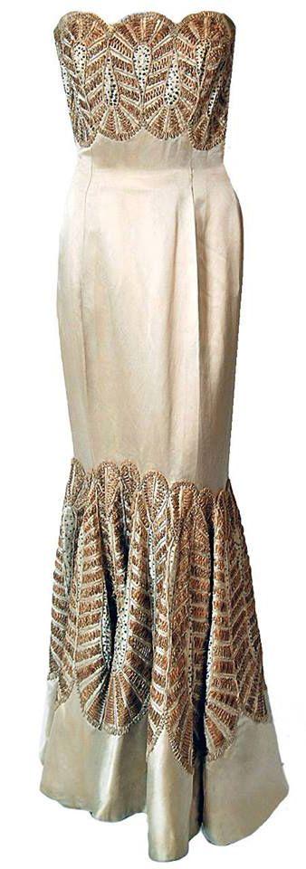 Sorelle Fontana - Haute Couture - Robe de Soirée Bustier - Satin de Soie Ivoire et Broderies de Perles - Années 50