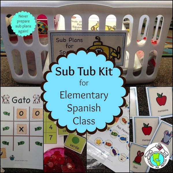 Sub Tub Sub Plans Kit for Elementary Spanish Class- create your own Sub Tub! Printable Spanish Activities and Instructions for making your own sub tub! Perfect for young learners! Mundo de Pepita, Resources for Teaching Spanish To Children
