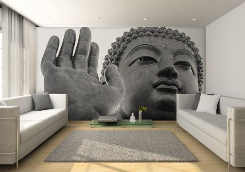 While I won't be having a buddha in my apartment, I like the full-scale covering an entire wall. And the gray! I love gray. I want to take one of my gray monolithic architecture photos and make a full-wall print like this.
