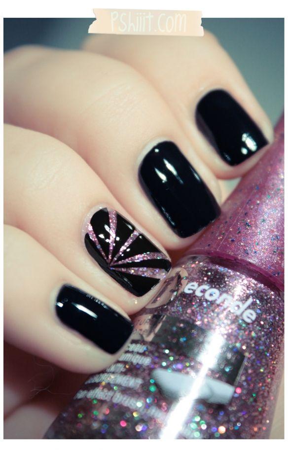 Pink & Black: Nailart, Accent Nails, Nails Design, Black Nails, Nails Polish, Pink Glitter, Nails Art Design, Nails Idea, Pink Black