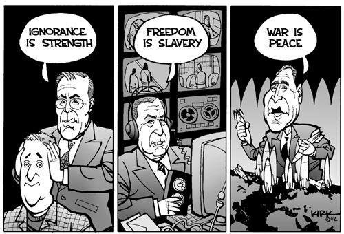 """1984: Zunehmend beeinflusst die Partei das Denken der Bevölkerung mit ständig wiederholten Parolen wie """"Krieg ist Frieden"""", """"Freiheit ist Sklaverei"""" und """"Unwissenheit ist Stärke""""."""