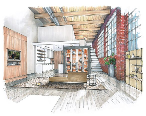 Living room marker rendering by Mick Ricereto